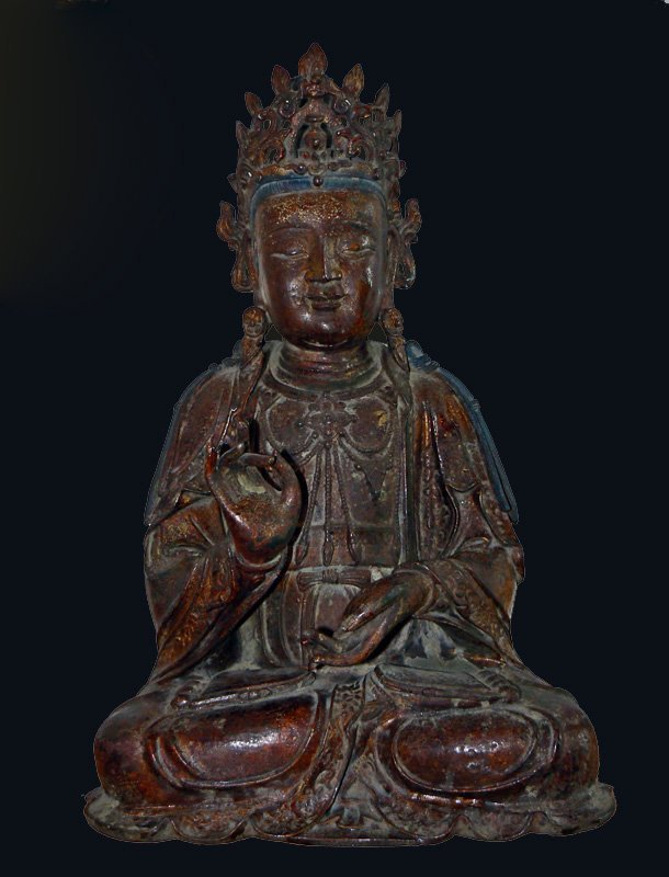 LARGE CHINESE GILT LACQUER BRONZE BUDDHA