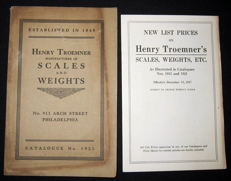 HENRY TROEMNER SCALES & WEIGHTS CATALOGUE