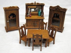 Doll House Miniature Furniture (8) Pcs.