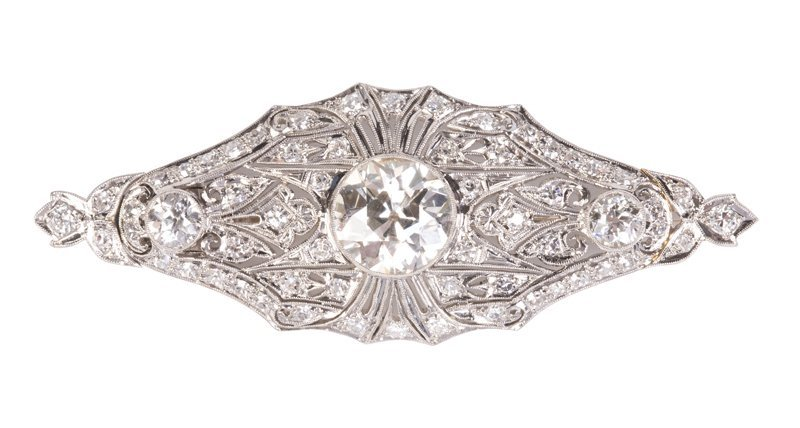 ANTIQUE PENDANT PLATINUM & DIAMOND BROOCH