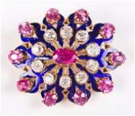 LADIES GOLD PINK SAPPHIRE  DIAMOND PENDANT BROOCH