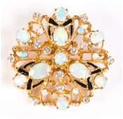 LADIES OPAL  DIAMOND PENDANT BROOCH