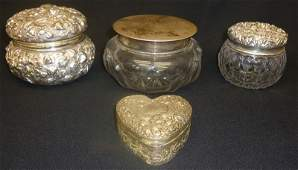 REPOUSSE STERLING DRESSER ITEMS (4)