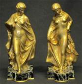 PAIR FRENCH GILT BRONZE BOOKENDS