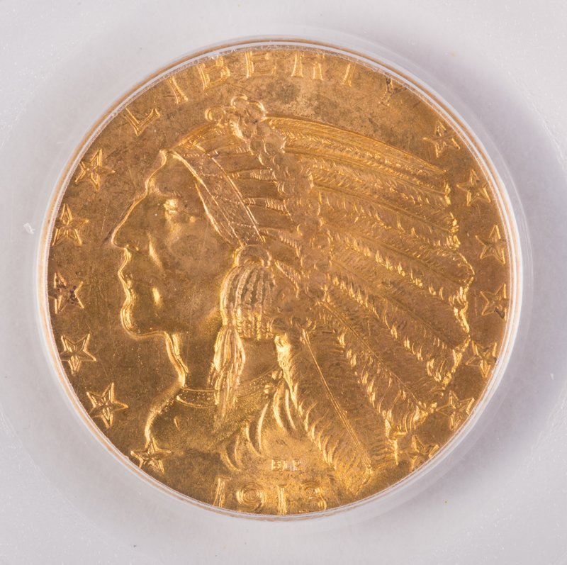 1913 INDIAN 5 DOLLAR GOLD (MOTTO) - 2