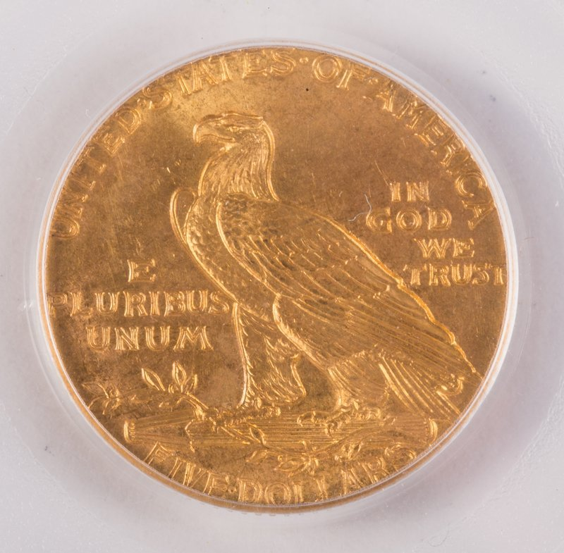 1913 INDIAN 5 DOLLAR GOLD (MOTTO) - 3