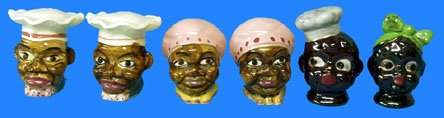 70: Black Americana MAMMY & CHEF SALT & PEPPER SHAKERS