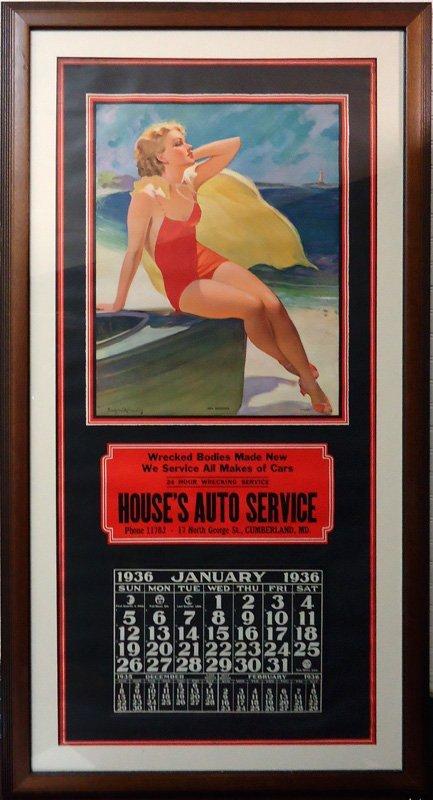 HOUSE'S AUTO SERVICE CALENDAR 1936