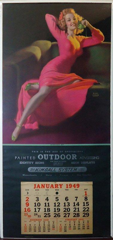 OUTDOOR ADVERTISING PIN-UP CALENDAR 1949