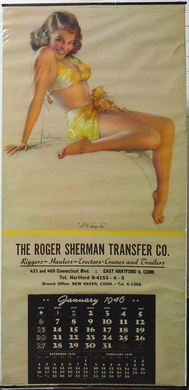 ROGER SHERMAN PIN-UP CALENDAR 1946