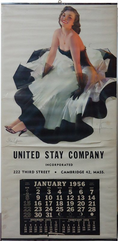 UNITED STAY CO. PIN-UP CALENDAR 1956