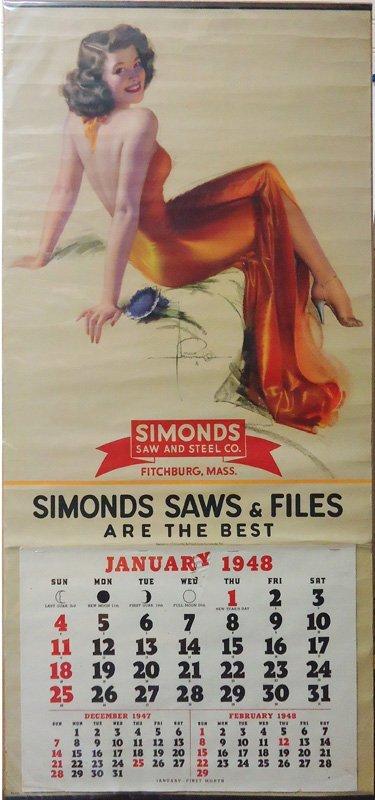 SIMONDS SAW & STEEL PIN-UP CALENDAR 1948