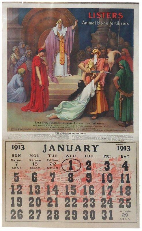 LISTERS ADVERTISING CALENDAR 1913