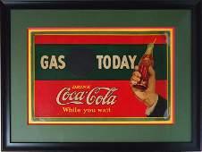 COCA-COLA CARDBOARD GAS SIGN 1926