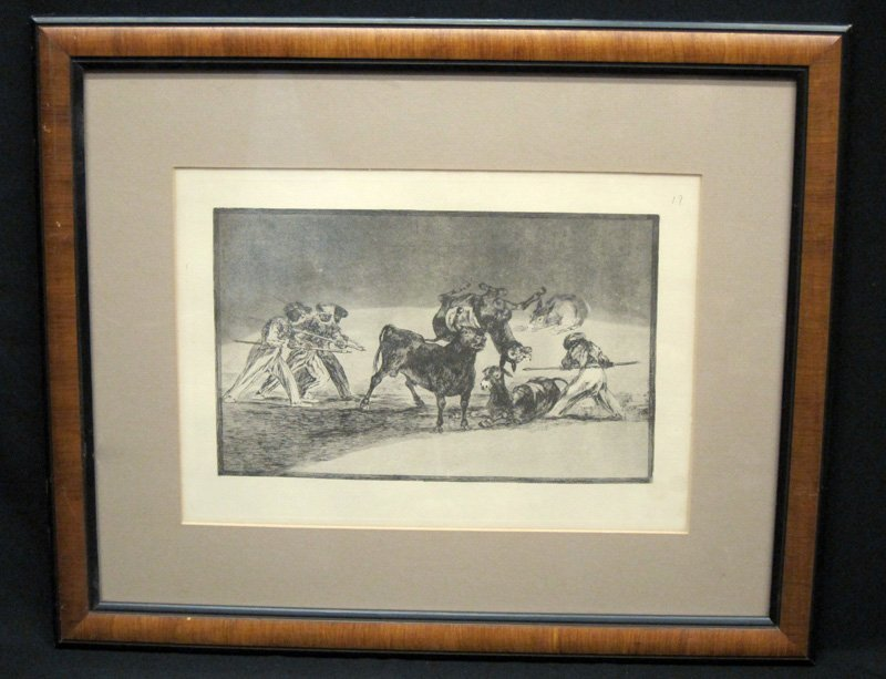 GOYA BULL FIGHTING ETCHING
