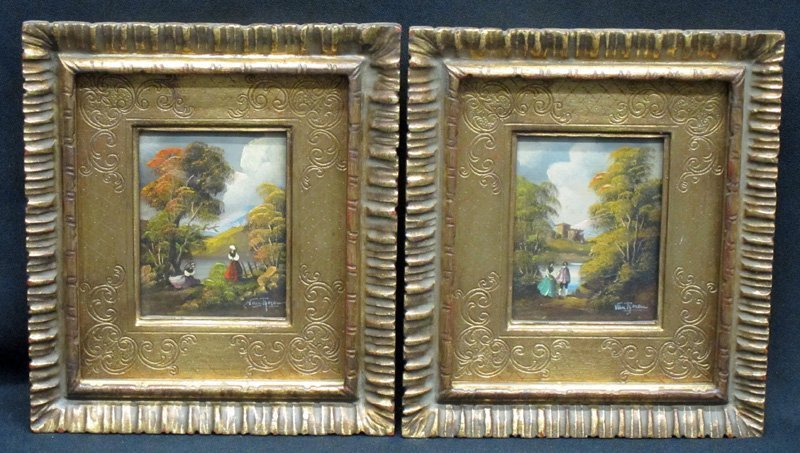 PAIR OF MINIATURE LANDSCAPE PAINTINGS (2)