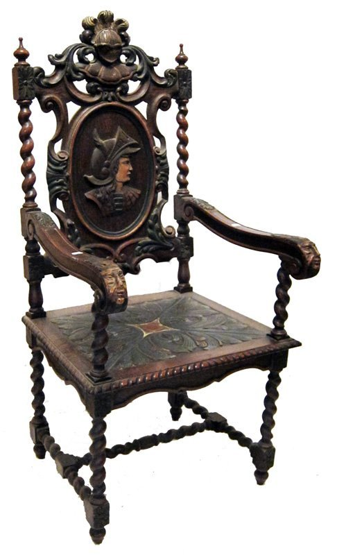 ANTIQUE JACOBEAN STYLE ARM CHAIR