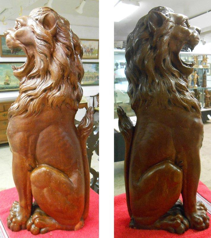 PAIR SCULPTURAL LION COLUMNS - 6