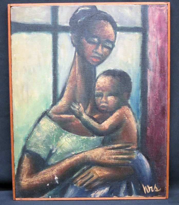 PORTRAIT PAINTING BLACK MOTHER AND CHILD