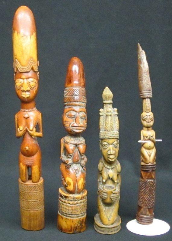 YORUBA TAPPERS & AFRICAN FIGURES (4)
