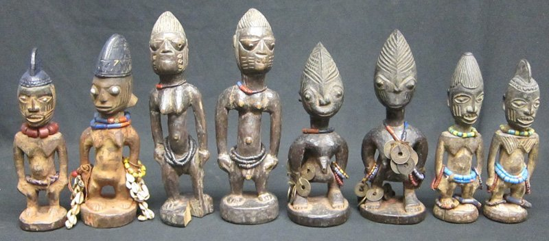 YORUBA TWIN FIGURE CULT FIGURES (8)