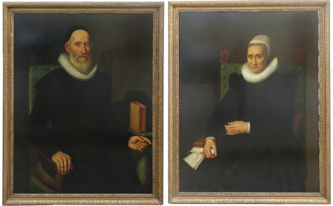 PAIR OF EARLY DUTCH PORTRAITS - J A BACKER