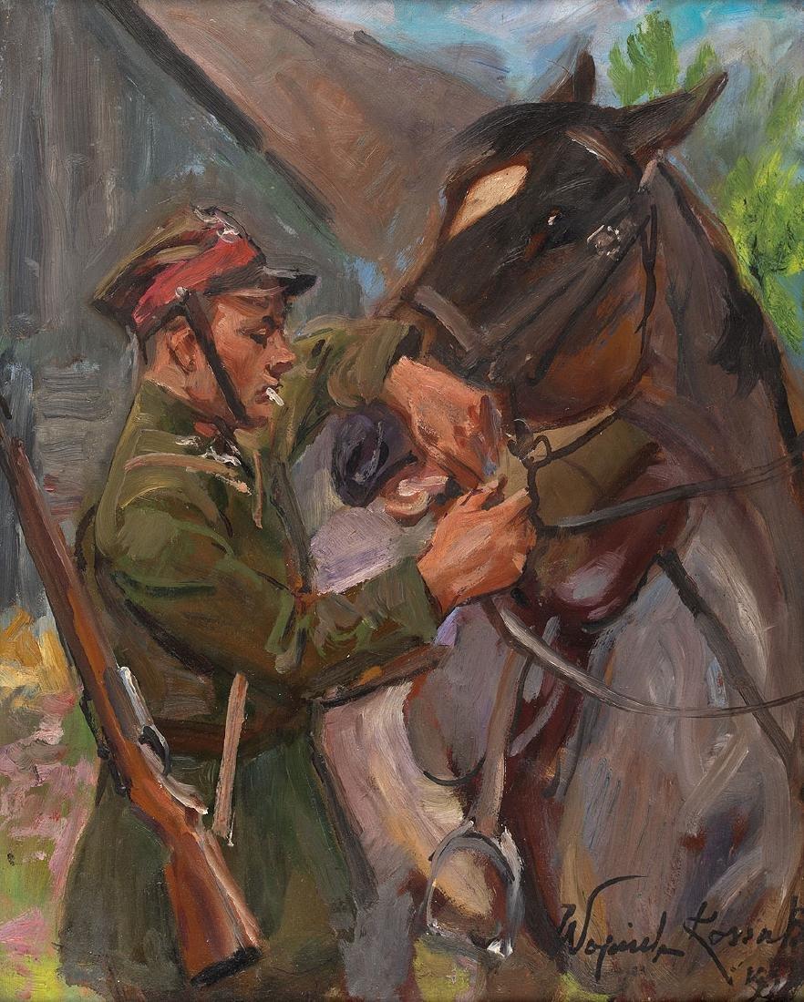 WOJCIECH KOSSAK (1856 – 1942) – UHLAN WITH HORCE, 1939