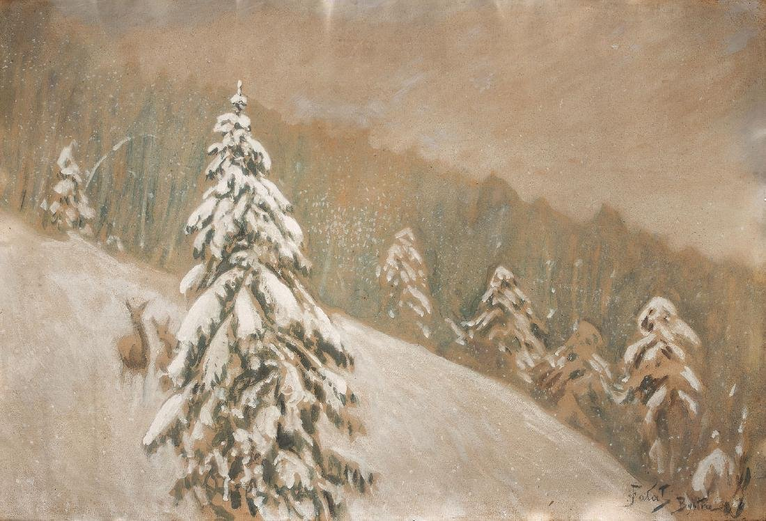 JULIAN FA?AT (1853 – 1929) - WINTER LANDSCAPE WITH