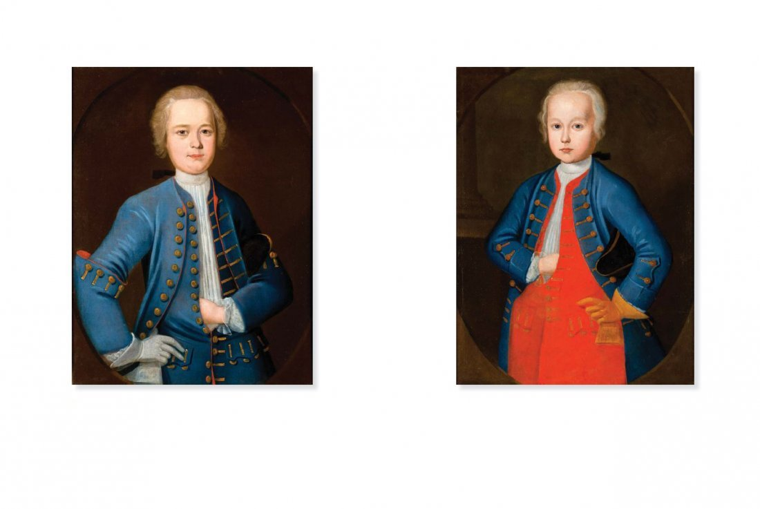 Author unknown, A pair of boy portraits, circa 1750
