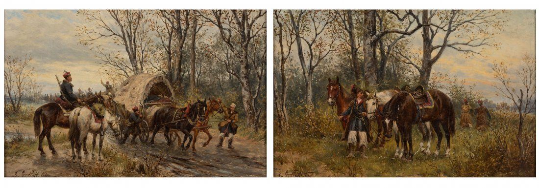 Diptych: Crossing and Cossack Patrol