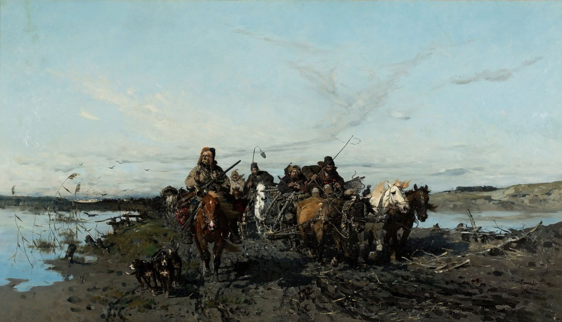 Hunting train on the road, 1871