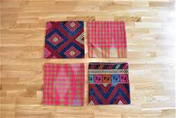 4 Pieces of Pillow Covers Made of Vintage Kilim Rugs