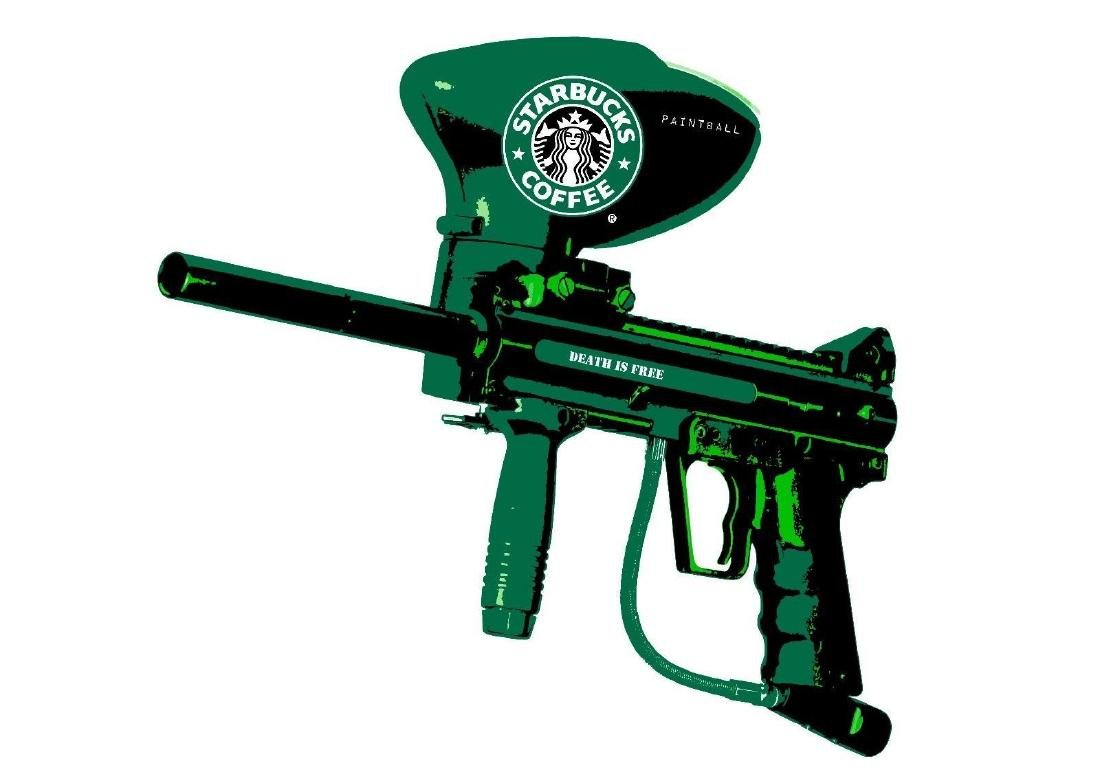 Coffee Paintball Gun- Green'' (2016) by DEATH NYC,