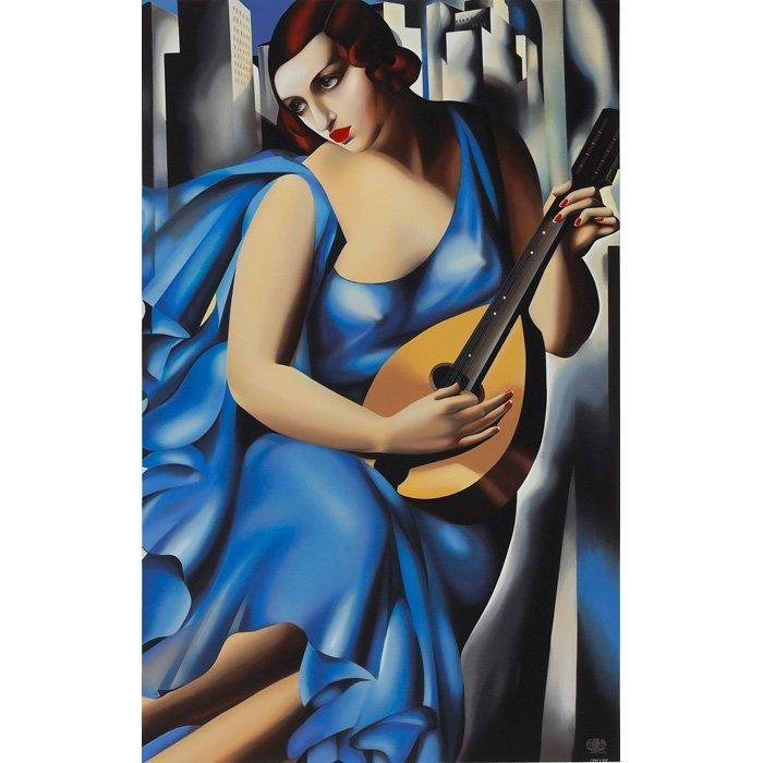"""""""Femme Blue a la Guitare'' (1994-96) Tamara de Lempicka"""