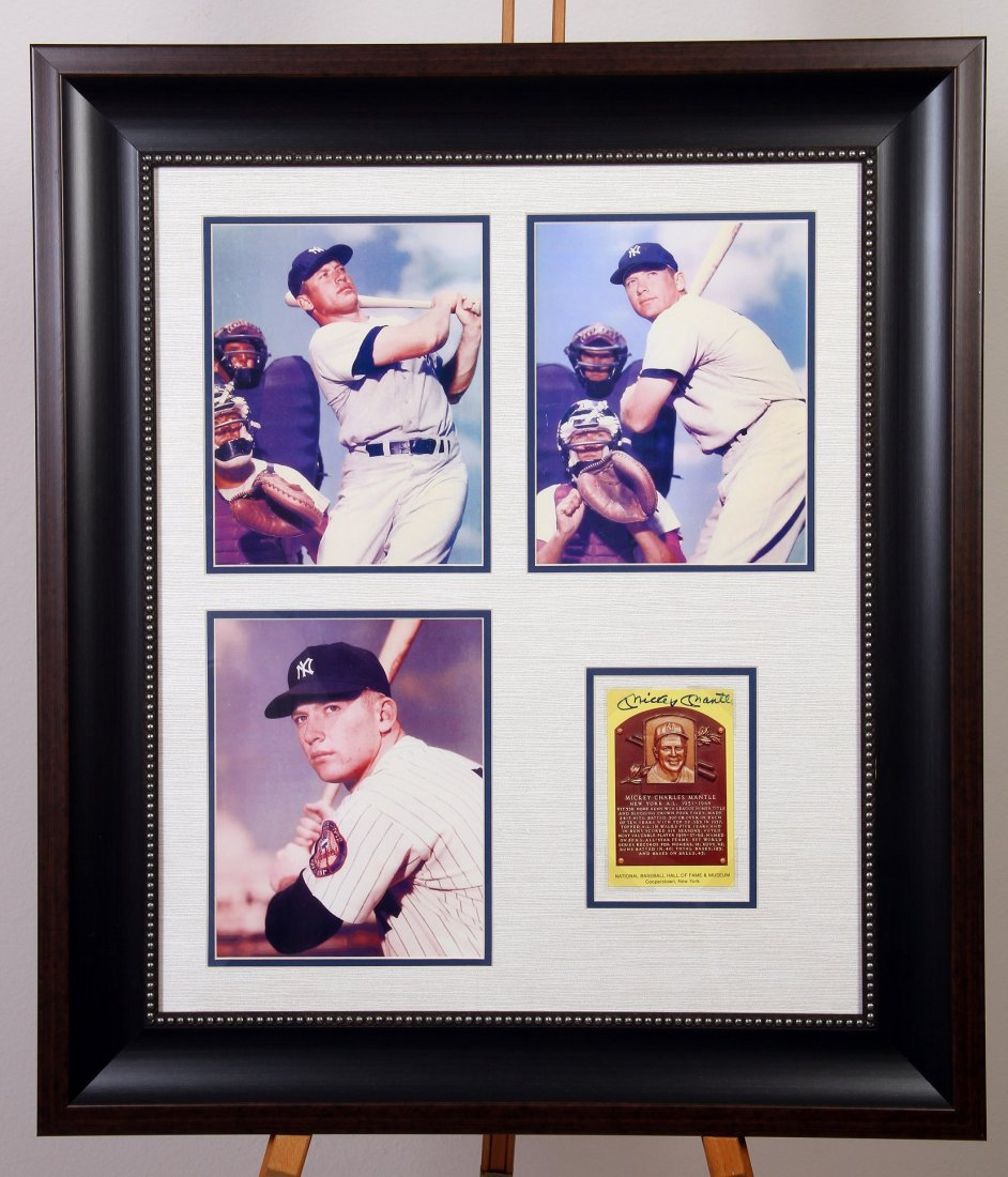 Mickey Mantle Signed Hall of Fame Plaque Card