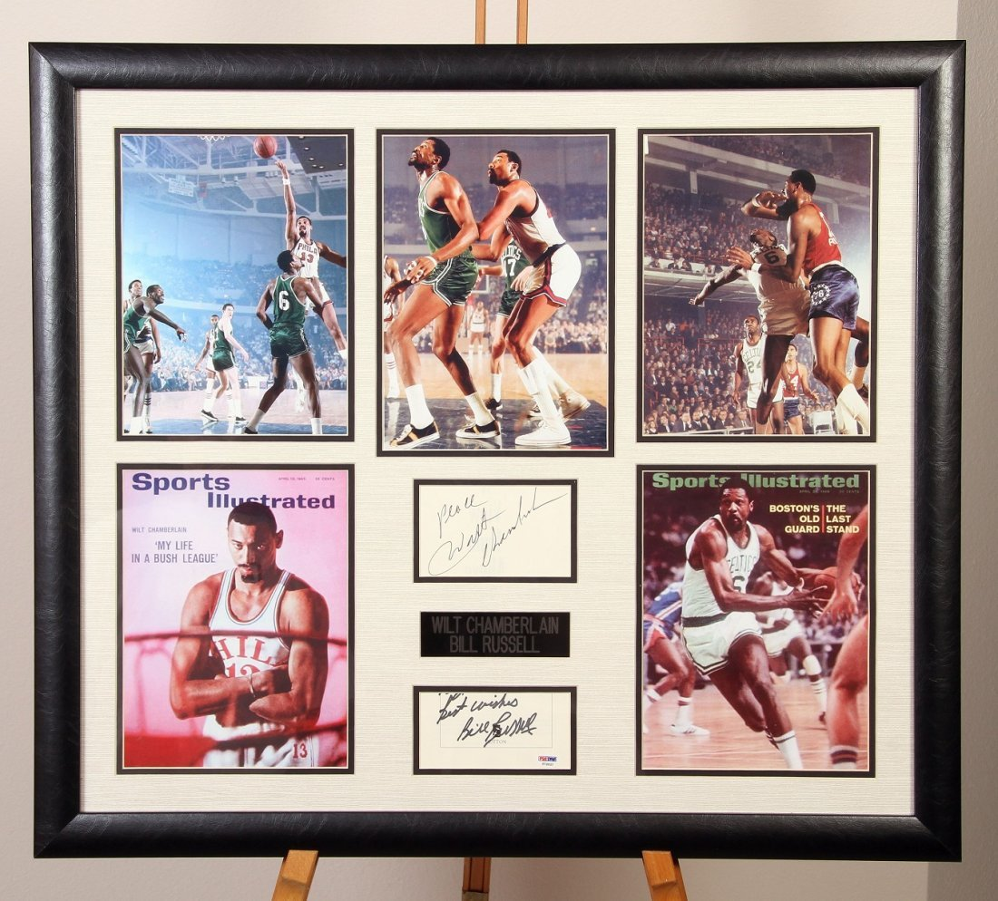 Wilt Chamberlain & Bill Russell Signed Cuts