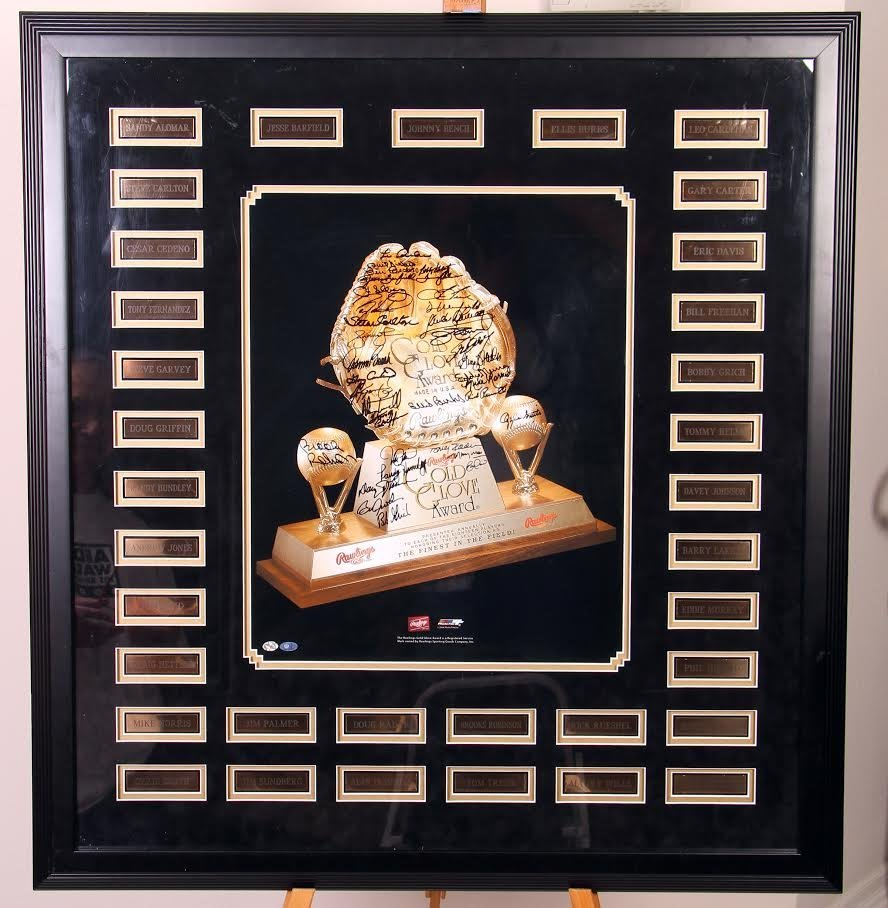 Gold Glove Award Photo Autographed By 35 Past Winners!