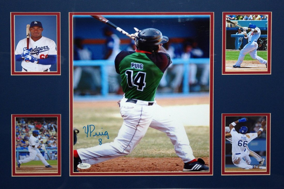 Yasiel Puig Signed Photo Framed w/ 4 Additional Photos