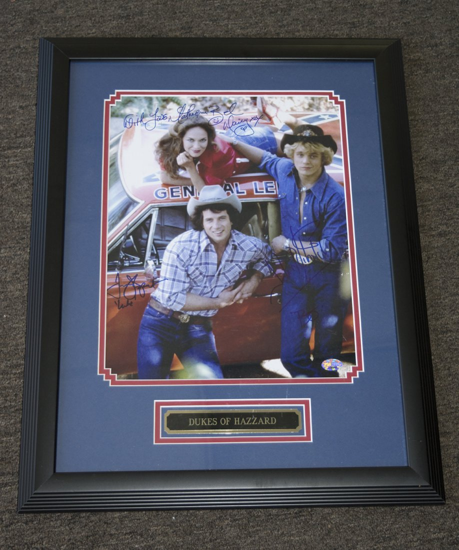 Dukes of Hazzard Photo Signed by Cast Framed