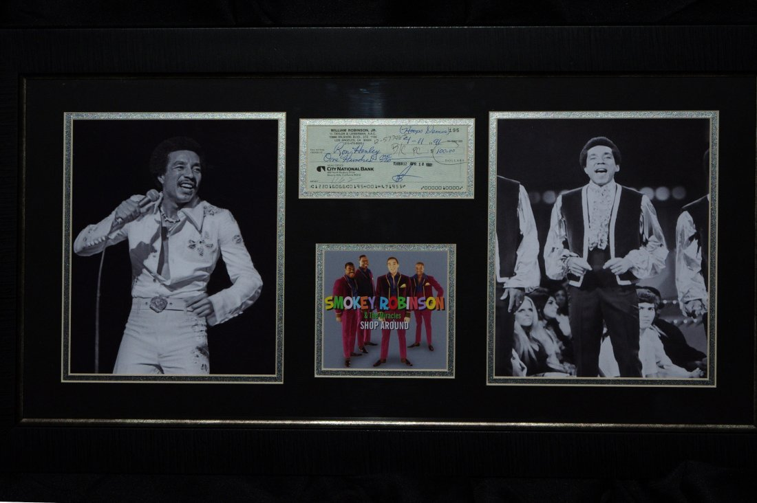 Smokey Robinson Canceled Check Framed w/ Photos Display