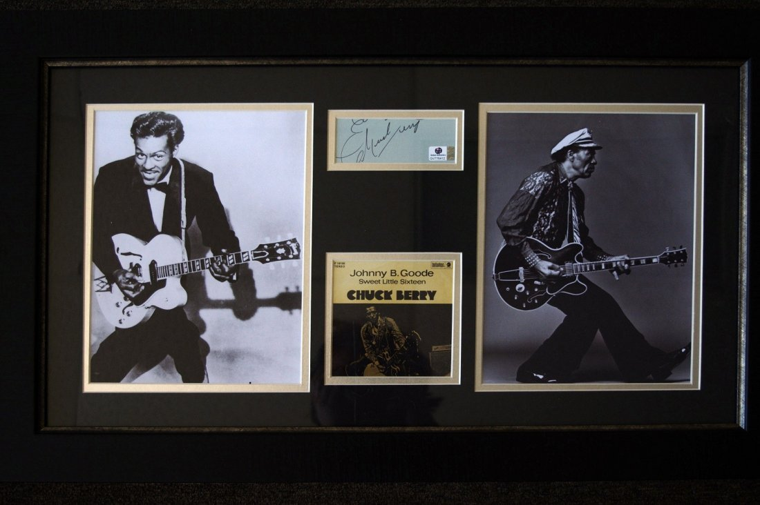Chuck Berry Signed Cut w/ 2 Photos & Cover Art