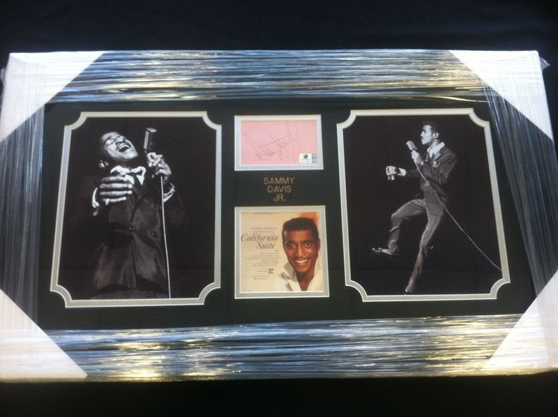 Sammy Davis Jr Signed Cut with two photos & Cover Art