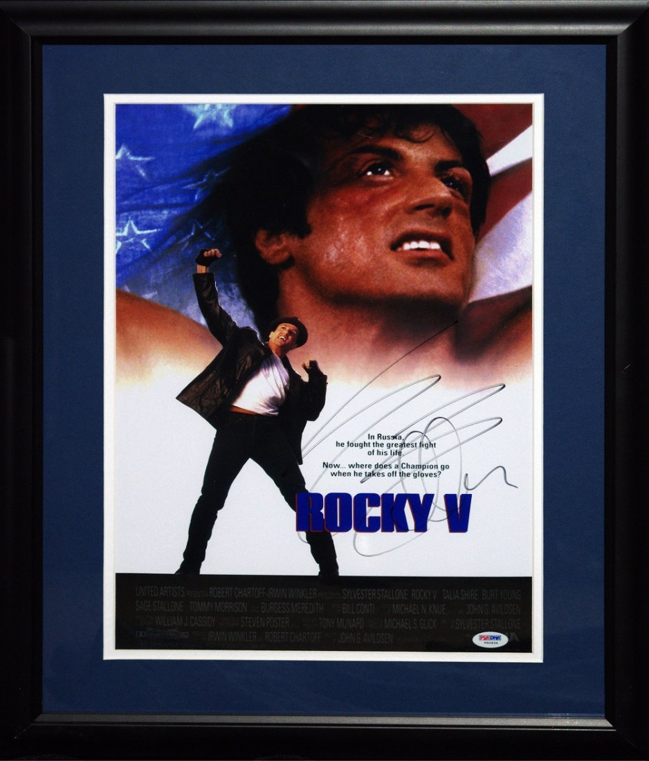 "Sylvester Stallone Signed & Framed Litho From ""Rocky V"""