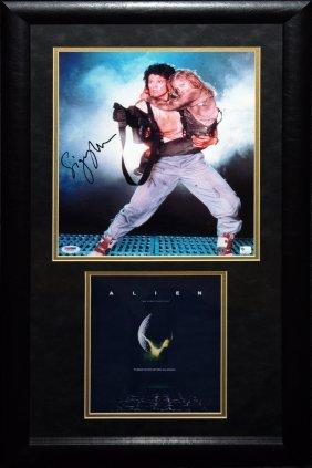 """Sigourney Weaver Signed Photo From """"alien"""" Framed"""