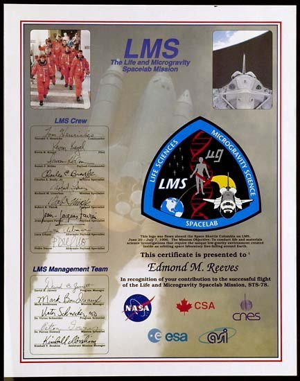 2573: 1996 STS-078 FLOWN MISSION LOGO
