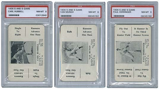 3021: 1936 GRADED 'S AND S' GAME CARDS (x3) (PSA 8)