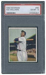 3024: 1950 GRADED BOWMAN #98 TED WILLIAMS (PSA 6)