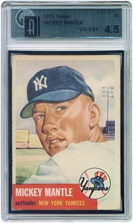 3028: 1953 GRADED TOPPS #82 MICKEY MANTLE (GAI 4.5)