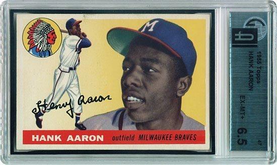 3034: 1955 GRADED TOPPS #47 HANK AARON (GAI 6.5)