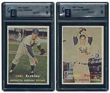 3039: 1957 GRADED TOPPS BROOKLYN DODGERS 2 CARD LOT